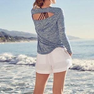 Athleta Breezy Long Sleeve Top Navy & White